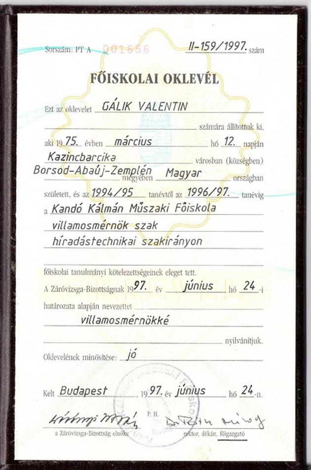 Valentin és Család szellemelengedes.hu Diploma1