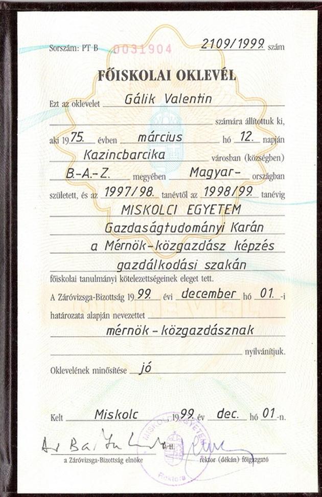 Valentin és Család szellemelengedes.hu Diploma2